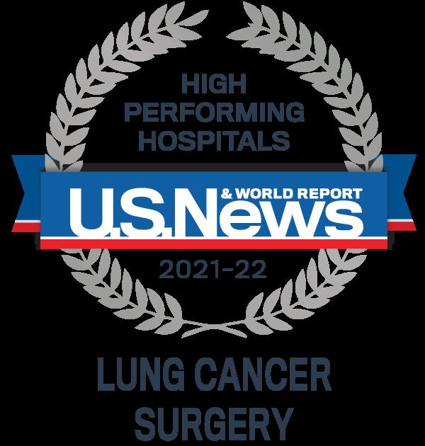 Insignia del premio hospitalario de alto rendimiento de US News - Cirugía de pulmón