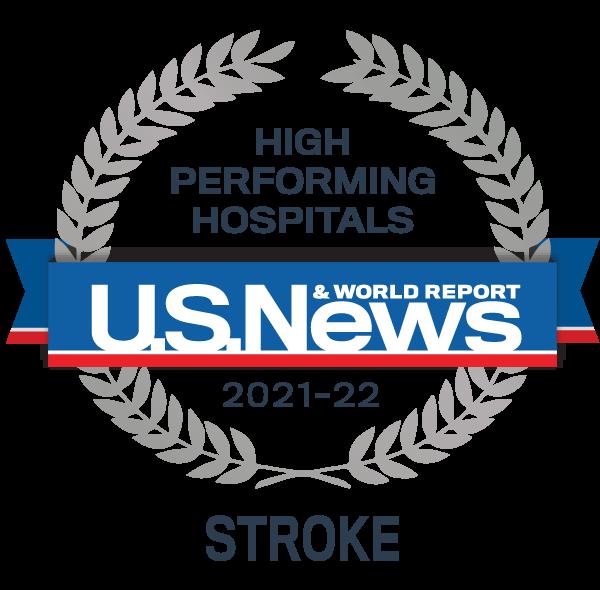 Insignia del premio de hospital de alto rendimiento de US News - Accidente cerebrovascular